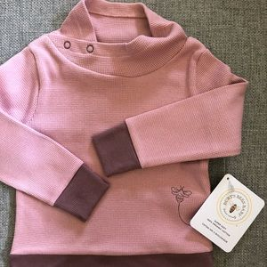 NWT Burt's Bees Baby Girl Thermal Pullover